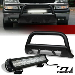 For 1999 2007 Silverado sierra 1500 Textured Black Mesh Bull Bar 120w Led Lights