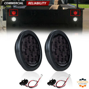 2x Smoked 4 Round 12 Led Red Stop Turn Tail Lights Trailer Truck W Grommet