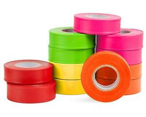 Adirpro 150 Ft X 1 In Mixed Survey Construction Marking Flagging Tape 12 Pack