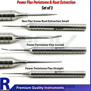 3pcs Dental Periodontal Implant Instrument Extraction Screw Flex Periotome Kit