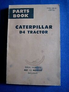 Vintage Caterpillar D4 Tractor Parts Book For 4g1 To 4g9999 1956