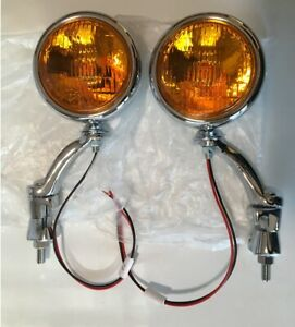 12 Volt Led Turn Signal 5 Amber Fog Running Lights Chrome Brackets Car Truck 1