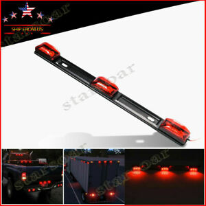 15in Red Identification Id Bar Marker Light 9 Led Truck Trailer Clearance Lights