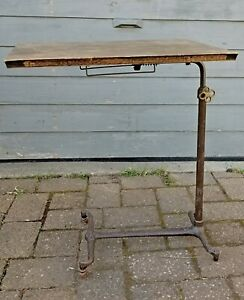 Antique Vtg Medical Dental Instrument Side Table Cast Iron Industrial Steampunk