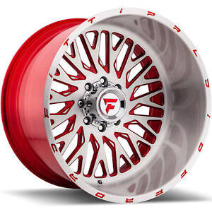 4 22x12 Brushed Red Wheel Fittipaldi Offroad Ftf07 6x135 51
