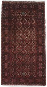 Vintage Style Geometric Small Red 2 7x5 0 Balouch Oriental Area Rug Home Carpet
