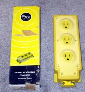New In The Box Daniel Woodhead Multiple Outlet Box Model 31593 W Yellow Neotex