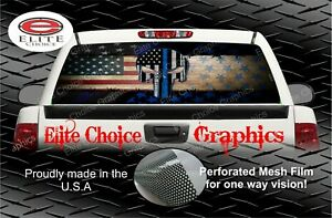 Wicked Wire Police Skull Thin Blue L Rear Window Graphic Decal Sticker Truck Car