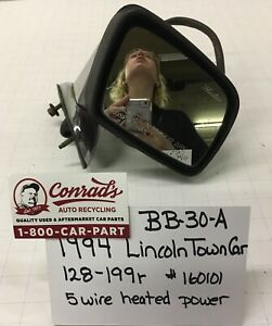 Used Vintage Lincoln Town Car 1994 Right Side View Mirror drivers Quality