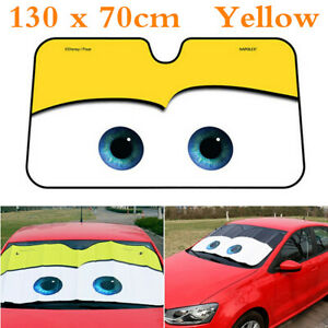 1pcs Catoon Big Eyes Foldable Car Suv Front Windshield Sun Shade Cover Yellow
