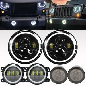 7 Led Headlight Fog Lamp Turn Signal Lights Kit For Jeep Wrangler Jk 07 17