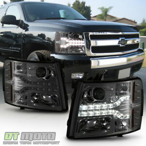 smoked Lens 2007 2013 Chevy Silverado 1500 Led Drl Strip Projector Headlights