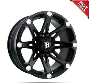 17x9 Ballistic Off Road Wheels 814 Jester Flat Black Rims s01