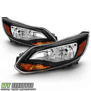 2012 2014 Ford Focus Black Headlights Headlamps Replacement 12 14 Left right Set