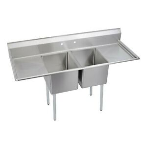 E series 2 compartment Sink 2 24 Drainboards