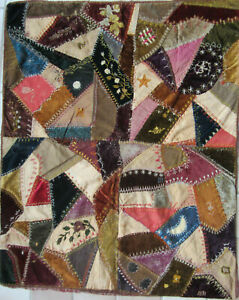 Antique 1891 Hand Stitched Embroidered Baby Crazy Quilt 44 X 54