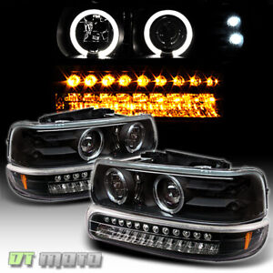 99 02 Silverado 00 06 Tahoe Suburban Halo Projector Headlights led Bumper Lamp