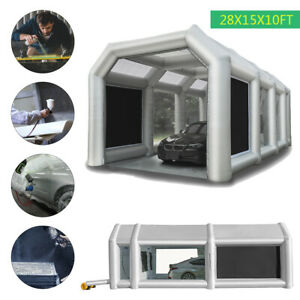 28x15x10ft Inflatable Spray Paint Booth Tent Auto Car Booth With Filters 2 Fans