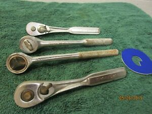 Lot Of 4 Vintage 3 8 Ratchets Hand Tools Craftsman Husky Garage Mechanic Shop