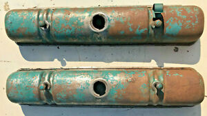 1956 Buick Nailhead 322 264 Valve Covers Pair Breather Cap Nice Used
