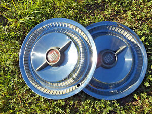 1955 Buick Roadmaster Hubcaps Wheel Covers Pair Nice Used Accessory Spinner