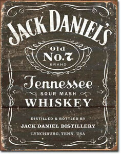 Jack Daniels Sign Whiskey Old No. 7 Weathered Vintage Metal Advertising Tin New