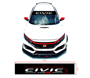 Honda Civic Type R Windshield Banner Visor 2 Layer Cut Decal 55 X 10