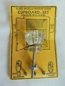 Vintage Cabinet Cupboard Door Or Drawer Glass Knob On The Original Card