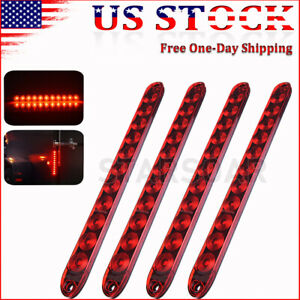 2x 15 In Red Sealed Strip Truck rv Trailer Led Stop Tail Turn Brake Light Bar Us