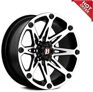 18x9 Ballistic Off Road Wheels 814 Jester Flat Black Machined Rims s02