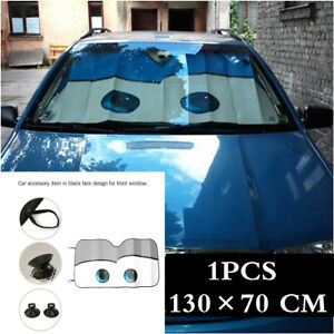 1pcs Gray Catoon Big Eyes Foldable Auto Car Suv Front Windshield Sun Shade Cover