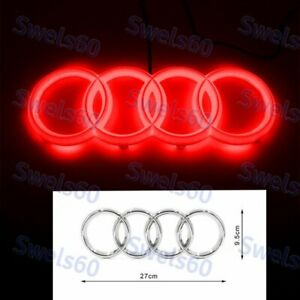 Red Led Light Emblem For Audi A1 A3 A4 A5 A6 A7 Q3 Q5q7 Chrome Front Grill Badge