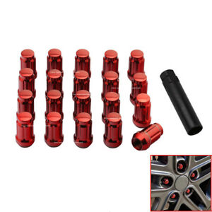 Set Of 20 Red Spline Tuner Racing Lug Nuts W Key Fits Ford Escape Fusion New
