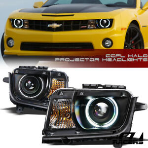 For 2010 2013 Chevy Camaro Matte Black Drl Ccfl Halo Projector Headlights Signal