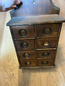 Antique Wall Hanging Wooden Eight Drawer Spice Box With Free Shipping