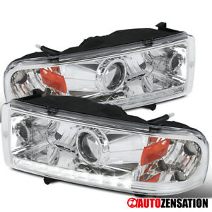 For 1994 2001 Dodge Ram 1500 2500 3500 Smd Led Drl Clear Projector Headlights