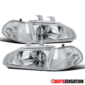 For 92 95 Honda Civic 4dr Sedan Clear Headlights Corner Signal Lamps 93 94