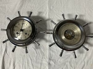 Vintage Salem Ships Bell Clock And Barometer Set 8 Day 7 Jewels Brass Working