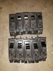 Lot Of 10 General Electric Thqb1120 Circuit Breakers 1 Pole 20 Amp Bolt on