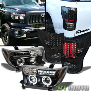 For Black 2007 2013 Toyota Tundra Led Halo Projector Headlights led Tail Lights