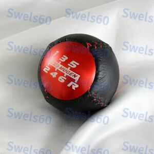 6 Speed Red Jdm Mugen Leather Shift Knob For Honda Crz Type R Civic Fa5 Fg2 Si