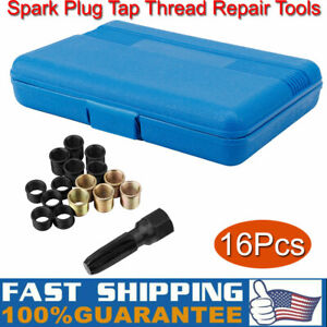 16pcs set Portable 14mm X 1 25 Spark Plug Thread Repair Tool Kit M16 Tap W Case