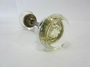 Vintage Glass And Brass Door Knob Set