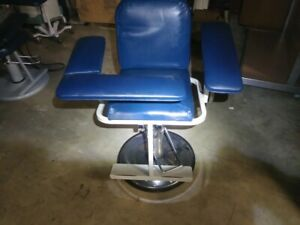 Blue Adjustable Phlebotomy Blood Drawing Chair Medical Lab Clinic Tattoo Nurse
