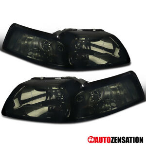 For 1999 2004 Ford Mustang Smoke Lens Headlights Head Lamps Pair Left Right