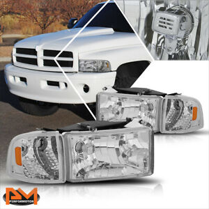 For 94 02 Dodge Ram 1500 3500 Chrome Housing Headlight Amber Corner Signal Lamps