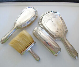 Tiffany Sterling Silver 4 Piece Vanity Dresser Set Hand Mirror 3 Brushes