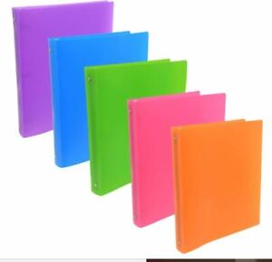 Lot Of 5 Poly 3 ring Binder 1 inch colors May Vary Free Shipping