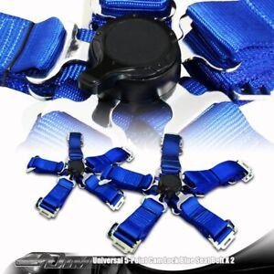 2 X Universal Blue Heavy Duty 5 Point Camlock Safety Harness Racing Seat Belt