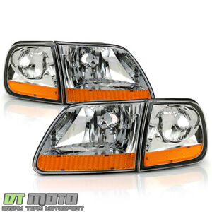 1997 2003 Ford F150 Harley Davidson Style Headlights W corner Lamps Left right